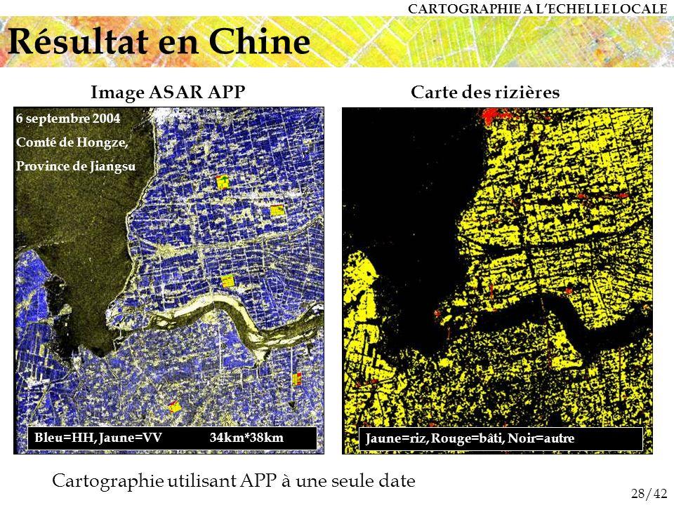 28/42 Bleu=HH, Jaune=VV 34km*38km 6 septembre 2004 Comté de Hongze, Province de Jiangsu Jaune=riz, Rouge=bâti, Noir=autre Image ASAR APPCarte des rizières Résultat en Chine CARTOGRAPHIE A LECHELLE LOCALE Cartographie utilisant APP à une seule date