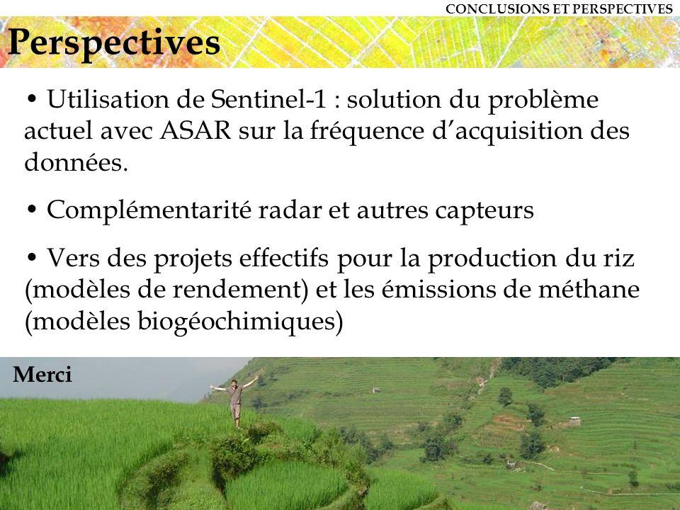42/42 Perspectives Utilisation de Sentinel-1 : solution du problème actuel avec ASAR sur la fréquence dacquisition des données.