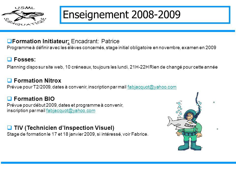 Enseignement 2008-2009 Groupe 1 = Form. Niveau I: Encadrants: Jean Paul, Jean Francois, Bruno, Delphine Entrainement encadré le vendredi, examen en Ma