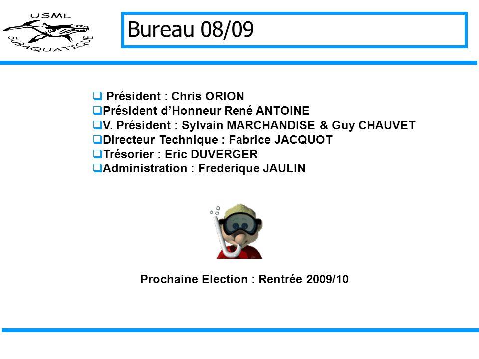 Bureau 08/09 Président : Chris ORION Président dHonneur René ANTOINE V.
