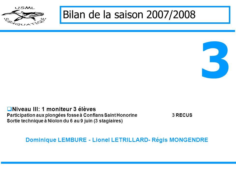 Bilan de la saison 2007/2008 Niveau III: 1 moniteur 3 élèves Participation aux plongées fosse à Conflans Saint Honorine3 RECUS Sortie technique à Niolon du 6 au 9 juin (3 stagiaires) Dominique LEMBURE - Lionel LETRILLARD- Régis MONGENDRE 3