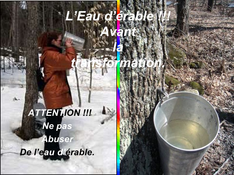 On recueille leau dérable.