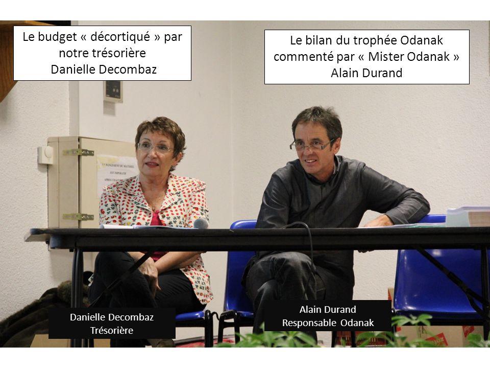 Danielle Decombaz Trésorière Alain Durand Responsable Odanak Le budget « décortiqué » par notre trésorière Danielle Decombaz Le bilan du trophée Odana