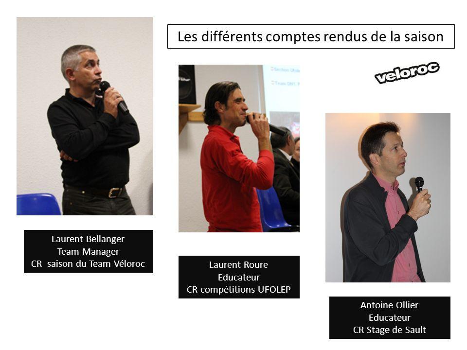 Laurent Roure Educateur CR compétitions UFOLEP Laurent Bellanger Team Manager CR saison du Team Véloroc Antoine Ollier Educateur CR Stage de Sault Les