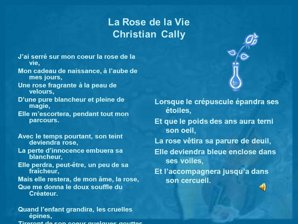 La Rose de la Vie Christian Cally Jai serré sur mon coeur la rose de la vie, Mon cadeau de naissance, à laube de mes jours, Une rose fragrante à la pe