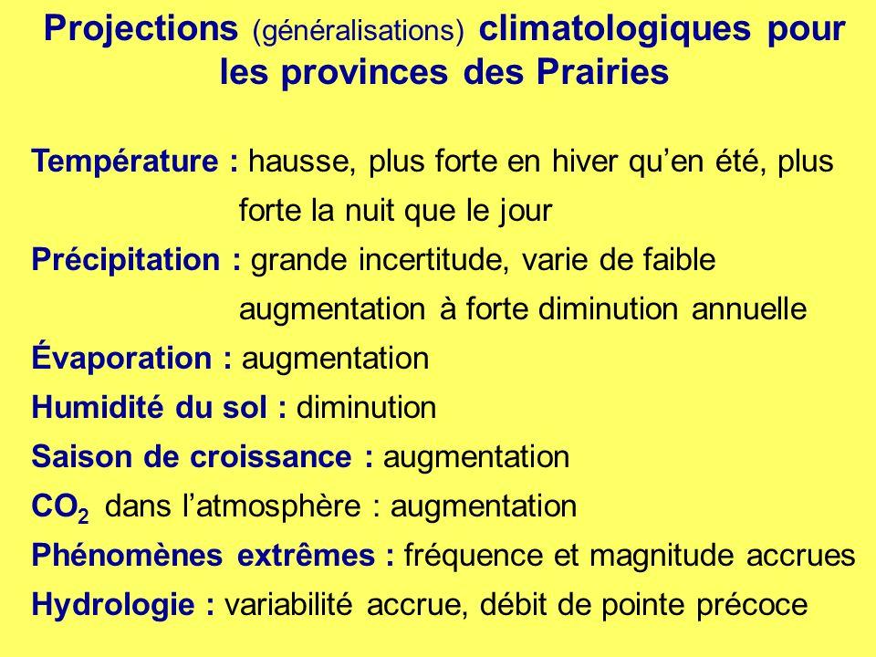 Projections (généralisations) climatologiques pour les provinces des Prairies Température : hausse, plus forte en hiver quen été, plus forte la nuit q
