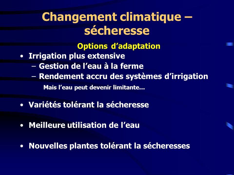 Changement climatique – sécheresse Options dadaptation Irrigation plus extensive –Gestion de leau à la ferme –Rendement accru des systèmes dirrigation