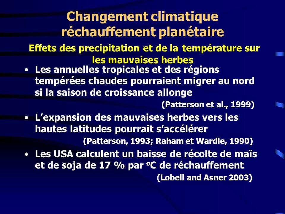 Changement climatique réchauffement planétaire Effets des precipitation et de la température sur les mauvaises herbes Les annuelles tropicales et des