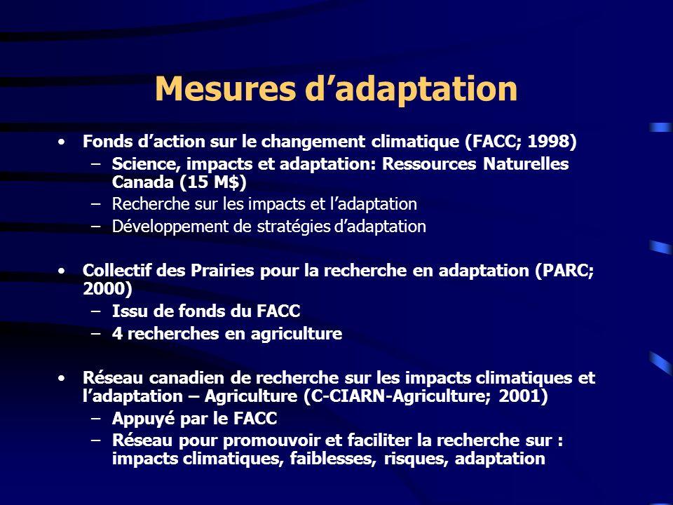 Mesures dadaptation Fonds daction sur le changement climatique (FACC; 1998) –Science, impacts et adaptation: Ressources Naturelles Canada (15 M$) –Rec