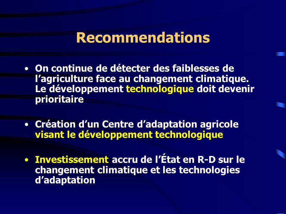 Recommendations On continue de détecter des faiblesses de lagriculture face au changement climatique. Le développement technologique doit devenir prio
