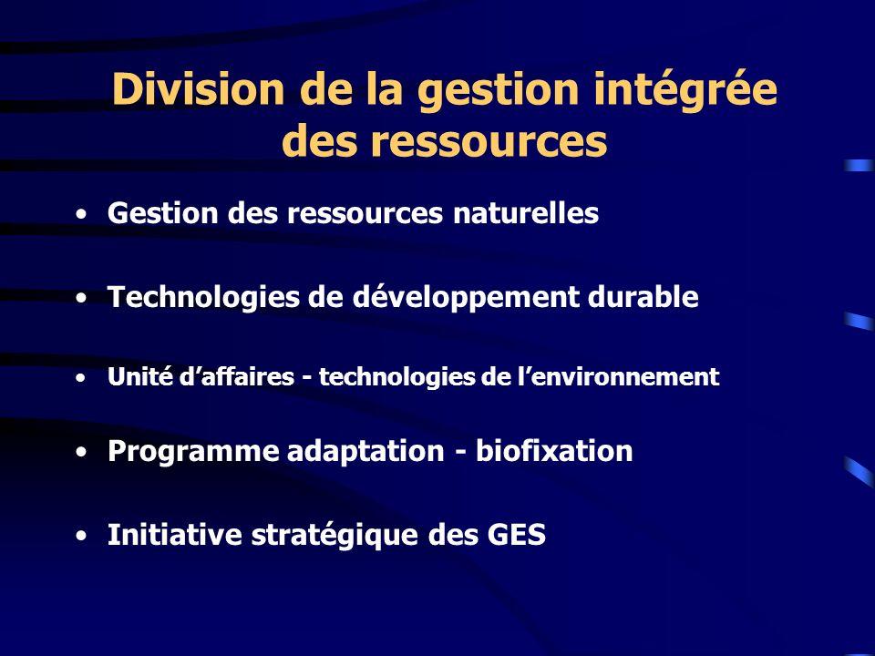 Division de la gestion intégrée des ressources Gestion des ressources naturelles Technologies de développement durable Unité daffaires - technologies