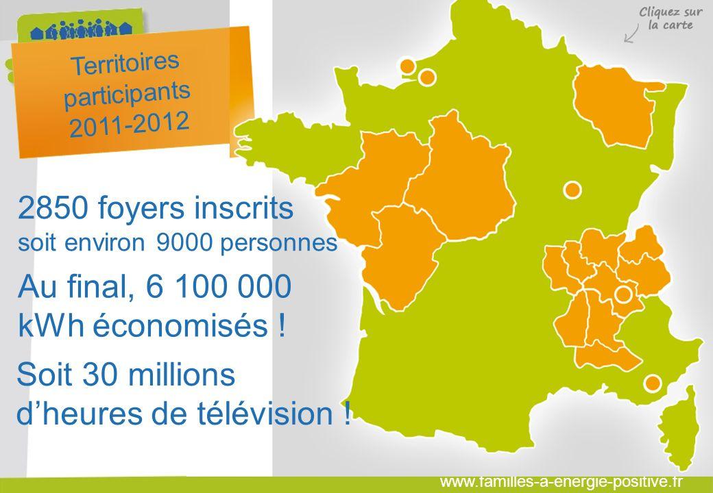 www.familles-a-energie-positive.fr Saison 2011-2012 Territoires participants 2011-2012 2850 foyers inscrits soit environ 9000 personnes Au final, 6 100 000 kWh économisés .