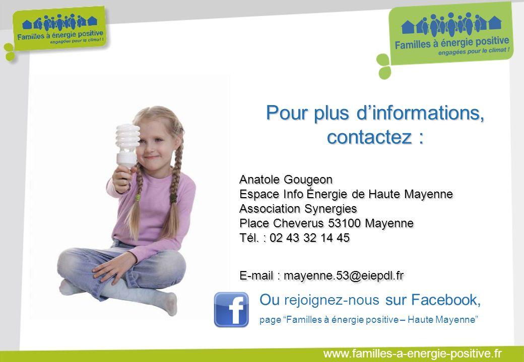 www.familles-a-energie-positive.fr Pour plus dinformations, contactez : Anatole Gougeon Espace Info Énergie de Haute Mayenne Association Synergies Place Cheverus 53100 Mayenne Tél.