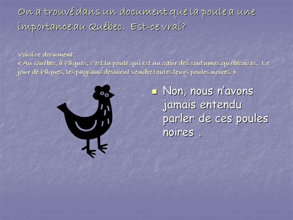 On a trouvé dans un document que la poule a une importance au Québec. Est-ce vrai? Voici ce document: « Au Québec, à Pâques, cest la poule qui est au
