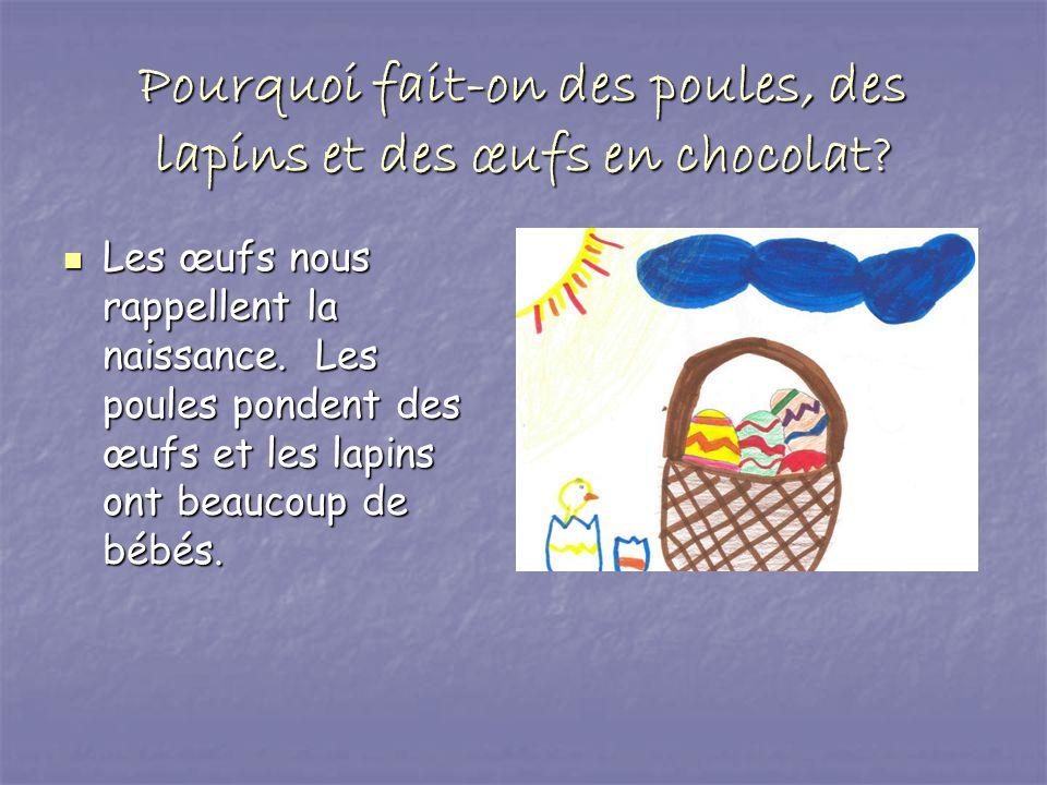 Pourquoi fait-on des poules, des lapins et des œufs en chocolat? Les œufs nous rappellent la naissance. Les poules pondent des œufs et les lapins ont