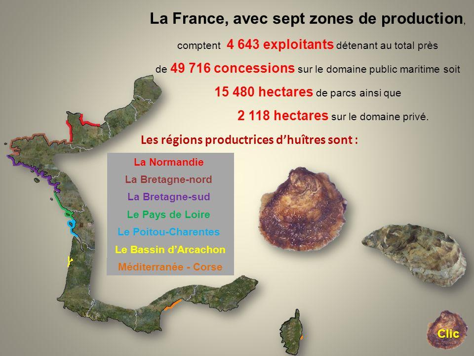 La France, avec sept zones de production, comptent 4 643 exploitants détenant au total près de 49 716 concessions sur le domaine public maritime soit