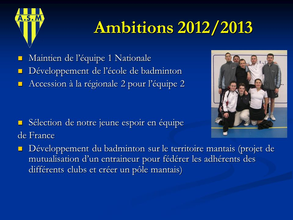 Ambitions 2012/2013 Ambitions 2012/2013 Maintien de léquipe 1 Nationale Maintien de léquipe 1 Nationale Développement de lécole de badminton Développe