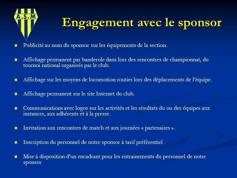 Engagement avec le sponsor Engagement avec le sponsor Publicité au nom du sponsor sur les équipements de la section. Affichage permanent par banderole