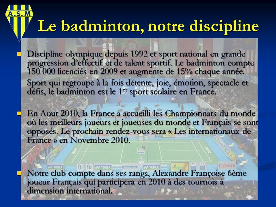 Le badminton, notre discipline Le badminton, notre discipline Discipline olympique depuis 1992 et sport national en grande progression deffectif et de