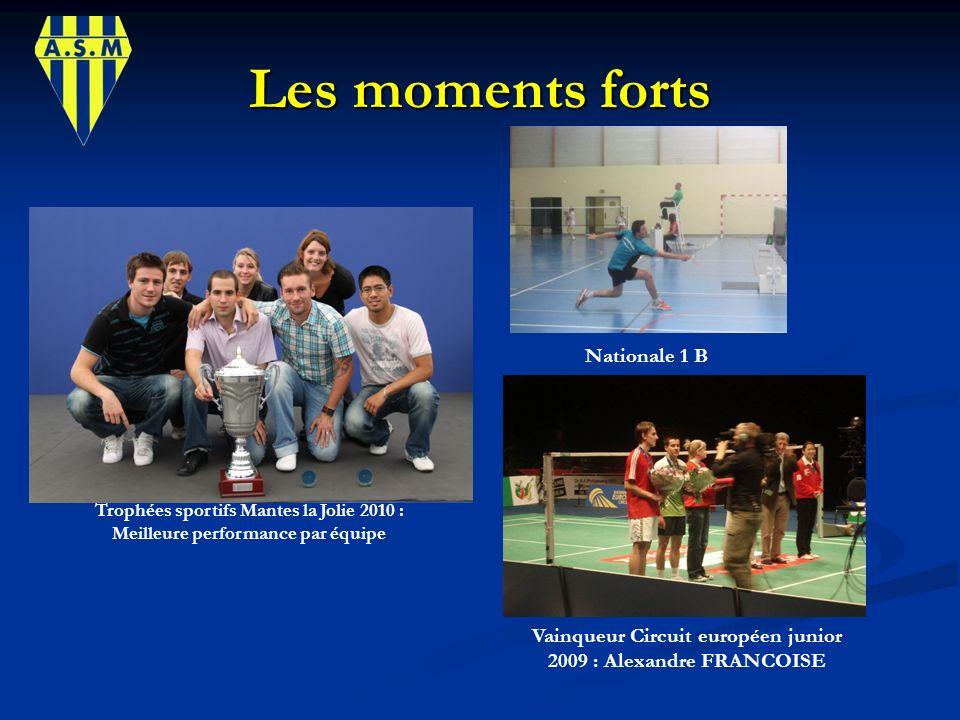 Les moments forts Trophées sportifs Mantes la Jolie 2010 : Meilleure performance par équipe Nationale 1 B Vainqueur Circuit européen junior 2009 : Ale