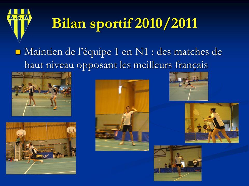 Bilan sportif 2010/2011 Maintien de léquipe 1 en N1 : des matches de haut niveau opposant les meilleurs français Maintien de léquipe 1 en N1 : des mat