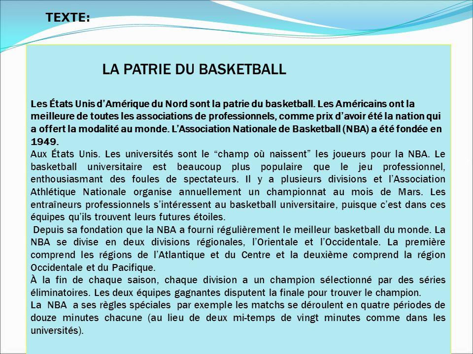 LA PATRIE DU BASKETBALL Les États Unis dAmérique du Nord sont la patrie du basketball. Les Américains ont la meilleure de toutes les associations de p