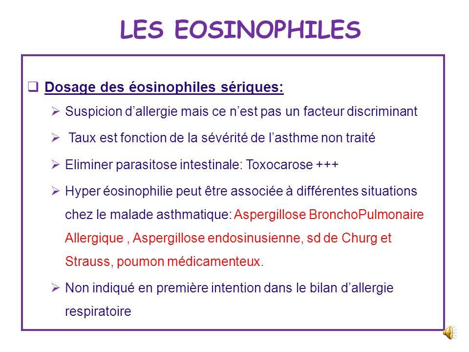 BIOLOGIE ET ALLERGIE RESPIRATOIRE Eosinophiles sériques Basophiles sériques Tests multi allergéniques IGE sériques totales IGE spécifiques Les allergè