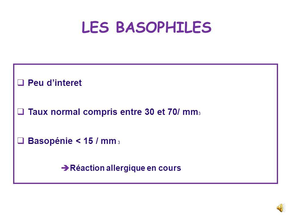 LES EOSINOPHILES Dosage des éosinophiles LBA ASTHMEBPCO Atopie+++- Crise paroxystique+++- Dyspnée progressive-+++ Tabagisme-+++ Sifflement++ Distensio