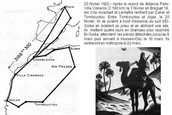 20 février 1925 - Après le record de distance Paris- Villa Cisneros (3 166 km) le 3 février en Breguet 19, les Cne Arrachart et Lemaître rentrent par