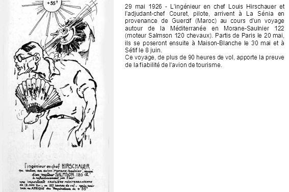 29 mai 1926 - L'ingénieur en chef Louis Hirschauer et l'adjudant-chef Couret, pilote, arrivent à La Sénia en provenance de Guercif (Maroc) au cours d'