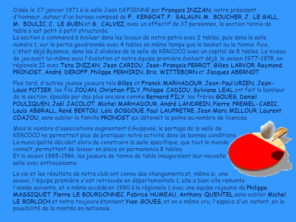 Créée le 27 janvier 1971 à la salle Jean DEFIENNE par François INIZAN, notre président d'honneur, autour d'un bureau composé de F. KERGOAT, P. SALAUN,
