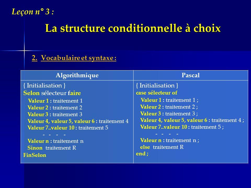La structure conditionnelle à choix 2. Vocabulaire et syntaxe : Leçon n° 3 : AlgorithmiquePascal { Initialisation } Selon sélecteur faire Valeur 1 : t