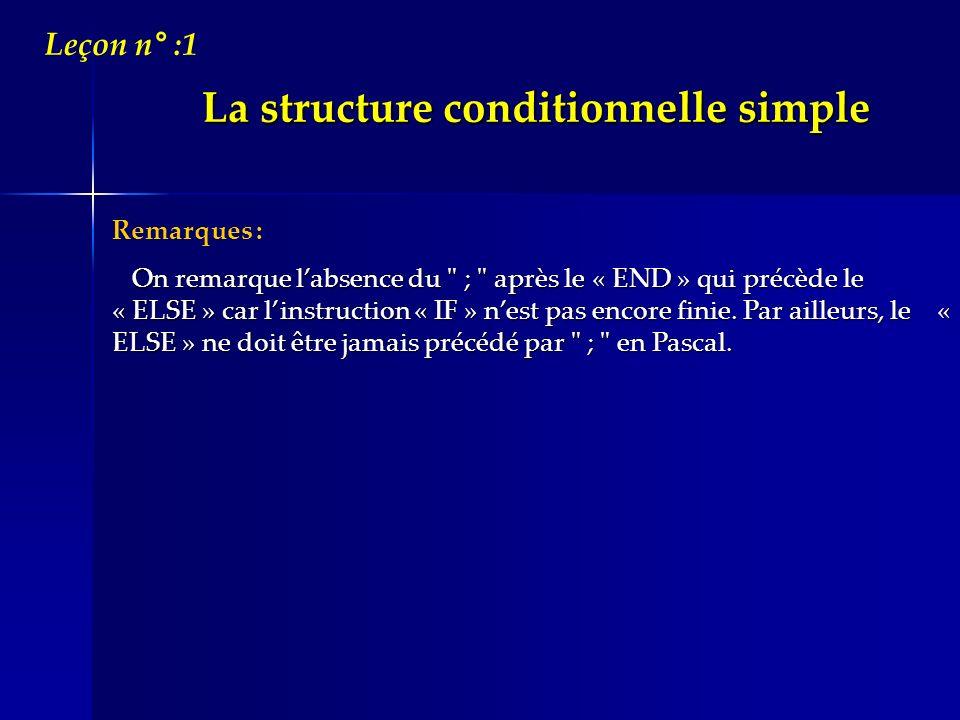 La structure conditionnelle simple Leçon n° :1 Remarques : On remarque labsence du