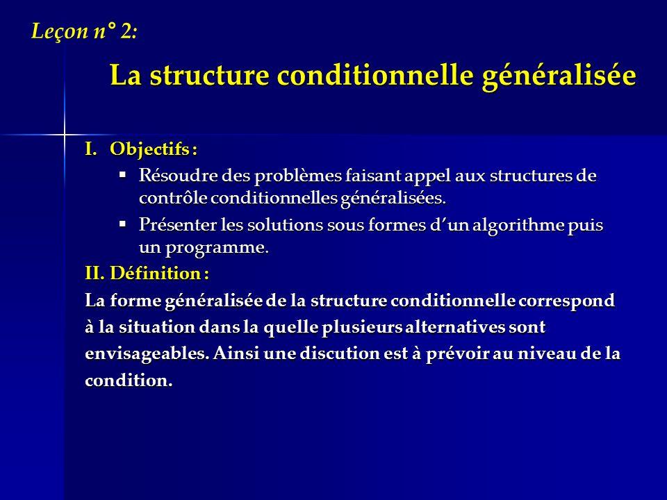 La structure conditionnelle généralisée I.Objectifs : Résoudre des problèmes faisant appel aux structures de contrôle conditionnelles généralisées. Ré