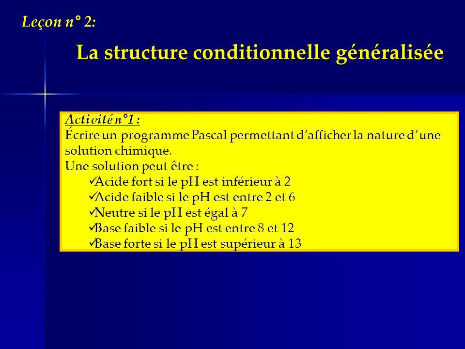 La structure conditionnelle généralisée Leçon n° 2: Activité n°1 : Écrire un programme Pascal permettant dafficher la nature dune solution chimique. U