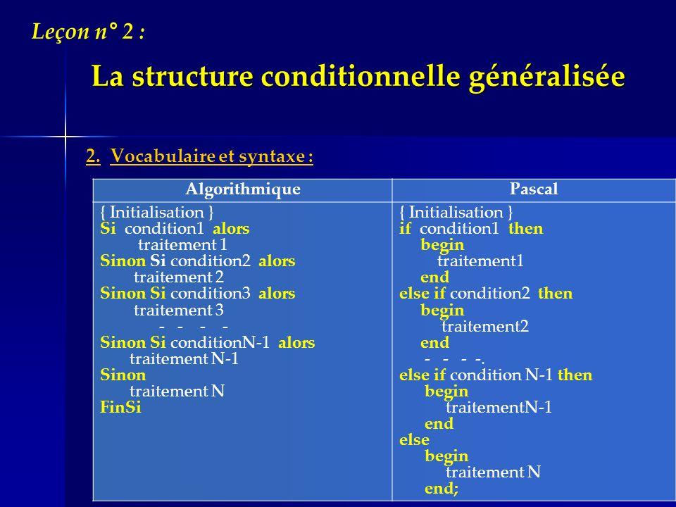 La structure conditionnelle généralisée 2. Vocabulaire et syntaxe : Leçon n° 2 : Algorithmique Pascal { Initialisation } Si condition1 alors traitemen