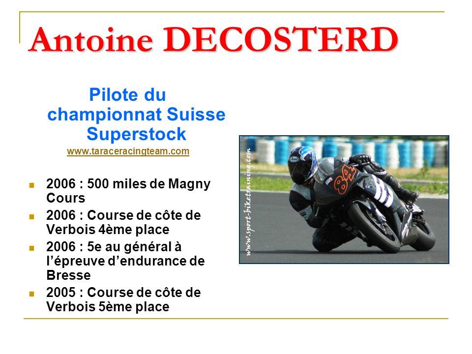 Olivier ULMANN Pilote de vitesse et dendurance 3ème du Championnat de France d Endurance 2007 3ème de la Super Roadster Cup en 2006 4ème du Championnat Open SuperBiKe en 1999 Champion de France PromoSport 1000cc en 1998 Champion de France PromoSport 600cc en 1996 Vainqueur des 24H00 d Oschersleben en 2001 3ème au Bol d Or en 2001 (10ème en 2007) 3ème aux 24H00 de Spa en 2002 & 1997 4ème aux 24H00 du Mans en 1994