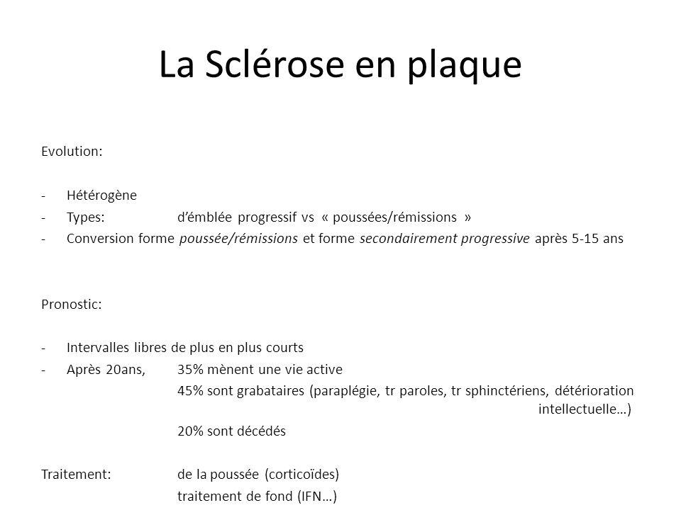 La Sclérose en plaque Evolution: -Hétérogène -Types:démblée progressif vs « poussées/rémissions » -Conversion forme poussée/rémissions et forme secondairement progressive après 5-15 ans Pronostic: -Intervalles libres de plus en plus courts -Après 20ans,35% mènent une vie active 45% sont grabataires (paraplégie, tr paroles, tr sphinctériens, détérioration intellectuelle…) 20% sont décédés Traitement:de la poussée (corticoïdes) traitement de fond (IFN…)