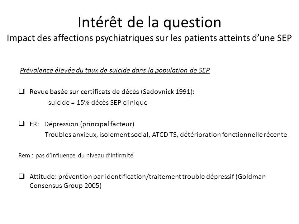 Intérêt de la question Impact des affections psychiatriques sur les patients atteints dune SEP Prévalence élevée du taux de suicide dans la population