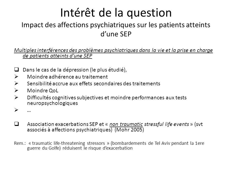 Multiples interférences des problèmes psychiatriques dans la vie et la prise en charge de patients atteints dune SEP Dans le cas de la dépression (le