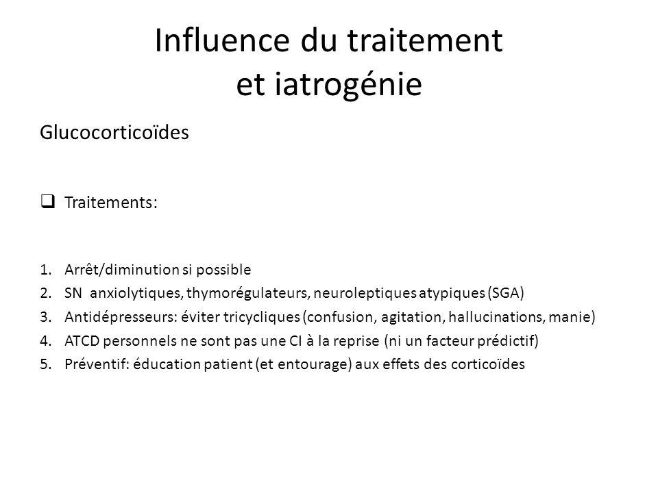 Glucocorticoïdes Traitements: 1.Arrêt/diminution si possible 2.SN anxiolytiques, thymorégulateurs, neuroleptiques atypiques (SGA) 3.Antidépresseurs: éviter tricycliques (confusion, agitation, hallucinations, manie) 4.ATCD personnels ne sont pas une CI à la reprise (ni un facteur prédictif) 5.Préventif: éducation patient (et entourage) aux effets des corticoïdes Influence du traitement et iatrogénie