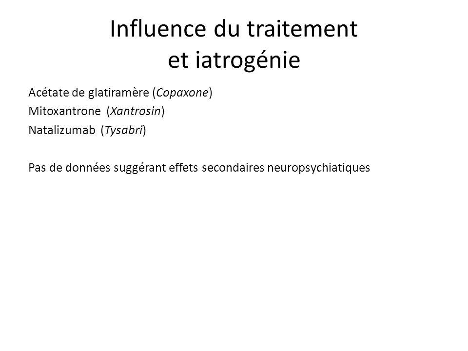Acétate de glatiramère (Copaxone) Mitoxantrone (Xantrosin) Natalizumab (Tysabri) Pas de données suggérant effets secondaires neuropsychiatiques Influence du traitement et iatrogénie