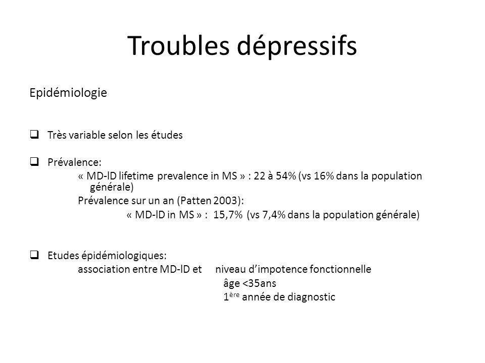 Troubles dépressifs Epidémiologie Très variable selon les études Prévalence: « MD-lD lifetime prevalence in MS » : 22 à 54% (vs 16% dans la population générale) Prévalence sur un an (Patten 2003): « MD-lD in MS » : 15,7% (vs 7,4% dans la population générale) Etudes épidémiologiques: association entre MD-lD et niveau dimpotence fonctionnelle âge <35ans 1 ère année de diagnostic