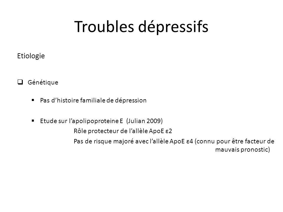 Troubles dépressifs Etiologie Génétique Pas dhistoire familiale de dépression Etude sur lapolipoproteine E (Julian 2009) Rôle protecteur de lallèle ApoE ε2 Pas de risque majoré avec lallèle ApoE ε4 (connu pour être facteur de mauvais pronostic)