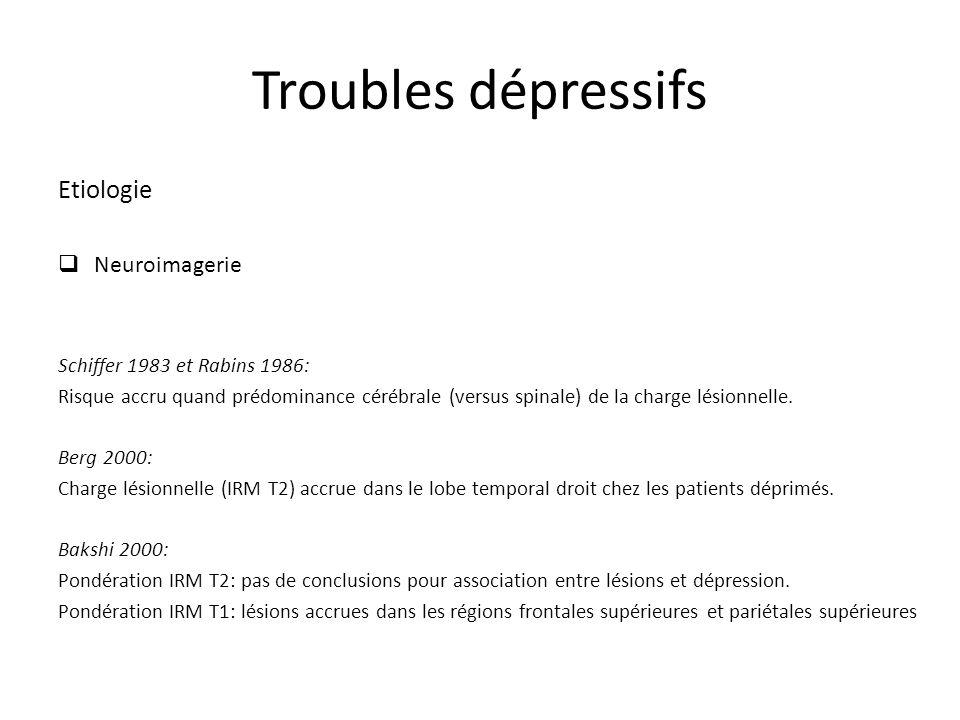 Troubles dépressifs Etiologie Neuroimagerie Schiffer 1983 et Rabins 1986: Risque accru quand prédominance cérébrale (versus spinale) de la charge lésionnelle.