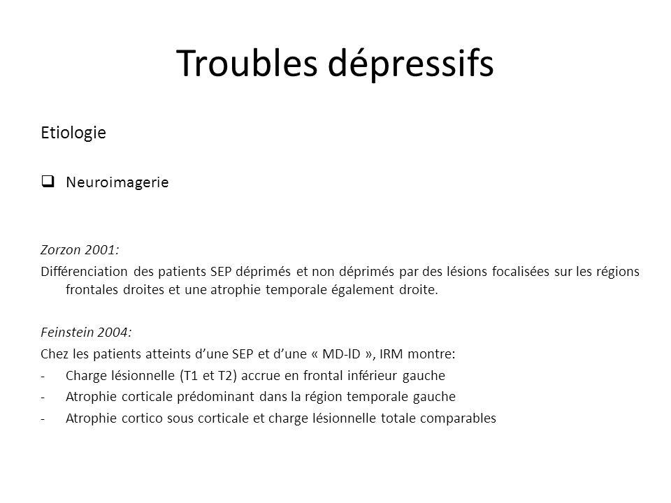Troubles dépressifs Etiologie Neuroimagerie Zorzon 2001: Différenciation des patients SEP déprimés et non déprimés par des lésions focalisées sur les régions frontales droites et une atrophie temporale également droite.