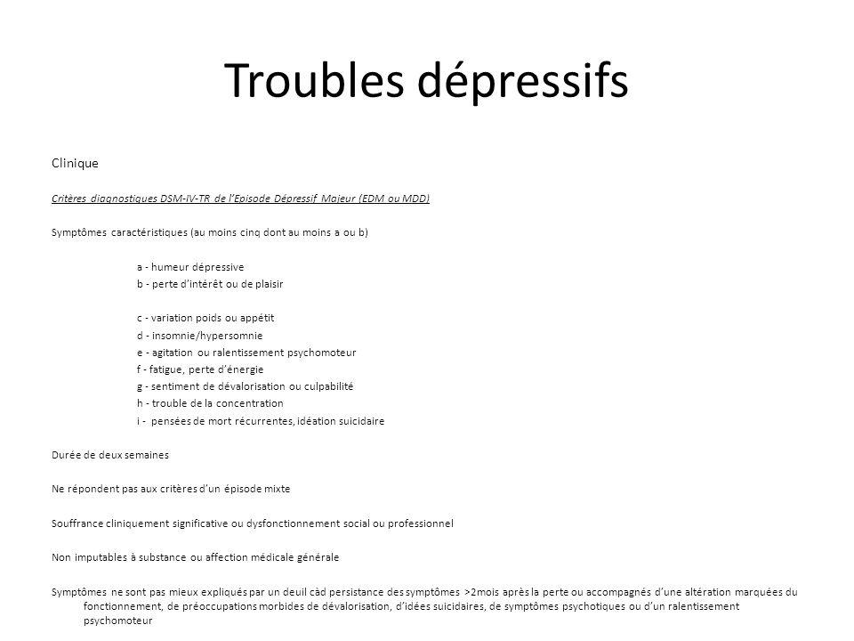 Troubles dépressifs Clinique Critères diagnostiques DSM-IV-TR de lEpisode Dépressif Majeur (EDM ou MDD) Symptômes caractéristiques (au moins cinq dont au moins a ou b) a - humeur dépressive b - perte dintérêt ou de plaisir c - variation poids ou appétit d - insomnie/hypersomnie e - agitation ou ralentissement psychomoteur f - fatigue, perte dénergie g - sentiment de dévalorisation ou culpabilité h - trouble de la concentration i - pensées de mort récurrentes, idéation suicidaire Durée de deux semaines Ne répondent pas aux critères dun épisode mixte Souffrance cliniquement significative ou dysfonctionnement social ou professionnel Non imputables à substance ou affection médicale générale Symptômes ne sont pas mieux expliqués par un deuil càd persistance des symptômes >2mois après la perte ou accompagnés dune altération marquées du fonctionnement, de préoccupations morbides de dévalorisation, didées suicidaires, de symptômes psychotiques ou dun ralentissement psychomoteur