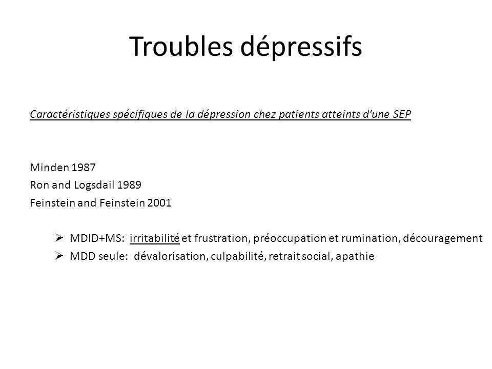 Caractéristiques spécifiques de la dépression chez patients atteints dune SEP Minden 1987 Ron and Logsdail 1989 Feinstein and Feinstein 2001 MDlD+MS:
