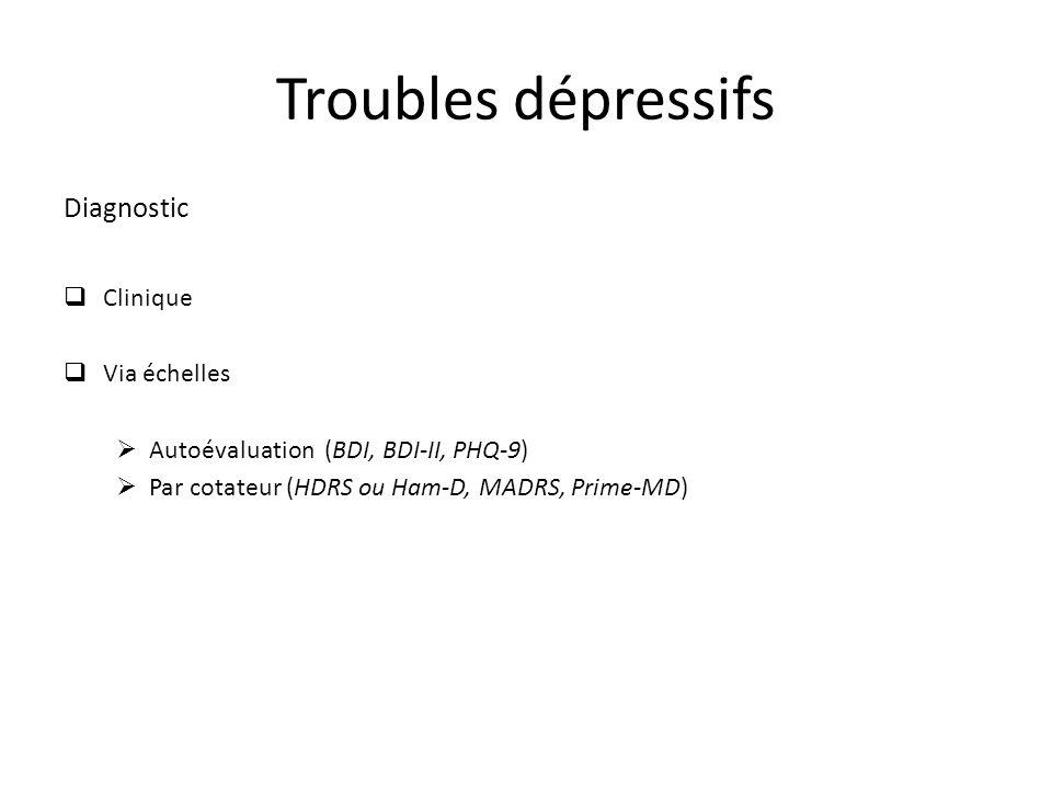 Diagnostic Clinique Via échelles Autoévaluation (BDI, BDI-II, PHQ-9) Par cotateur (HDRS ou Ham-D, MADRS, Prime-MD) Troubles dépressifs