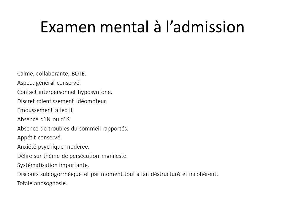 Examen mental à ladmission Calme, collaborante, BOTE.